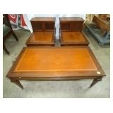 MAH. 3PC. LEATHER INLAYED MATCHING TABLES