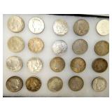 20 PEACE SILVER DOLLARS