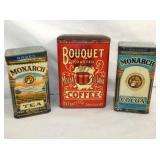 MONARCH, COCOA, COFFEE TINS