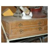 2 DRAWER OAK SPOOL CABINET