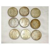 9 MORGAN SILVER DOLLARS