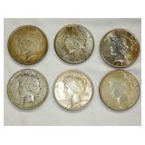 6 PEACE SILVER DOLLARS