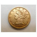 1900 $5 GOLD LIBERTY XF COIN