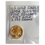 2002 US GOLD EAGLE 1/10OZ $5 .916T GOLD 3.393