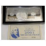 2001 $100 SILVER WASHINGTON PROOF
