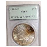 1887 MS62 MORGAN SILVER DOLLAR