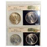 1923 MS61, 1922 MS61 PEACE DOLLARS