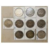 (10) 1888-1921 MORGAN SILVER DOLLARS