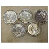 (5) 1921-1935 PEACE SILVER DOLLARS