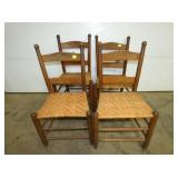 FOUR MATCHING LADDER BACK CHAIRS