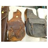 EARLY LEATHER SADDLE BAGS