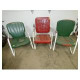 THREE METAL YARD CHAIRS