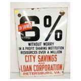 21X30 PORCELIAN 6% PETERSBURG VA. SIGN