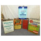 VARIOUS 1 GALLON ADVERTISING TINS
