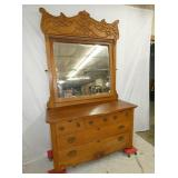 LARGE OAK DRESSER WITH CARVINGS