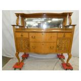 QUALITY MADE OAK SIDEBOARD W/ CARVINGS