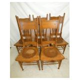 5 MATCHING OAK PRESSED BACK CHAIRS