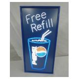 12X25 PEPSI FREE REFILL LIGHTUP SIGN