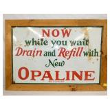 28X40 PORC. OPALINE DRAIN & REFILL SIGN