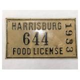 1933 METAL EMB. HARRISBURG FOOD LICENSE