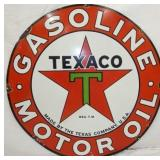 48IN PORC. TEXACO GASOLINE MOTOR OIL SIGN