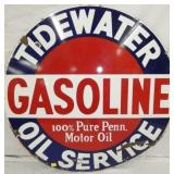 42IN PORC. TIDEWATER GASOLINE OIL SERVICE SIGN