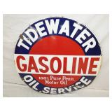 VIEW 2 CLOSEUP RARE TIDEWATER GASOLINE SIGN