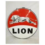 5FT. PORC. LION SIGN W/ RED BACKGROUND