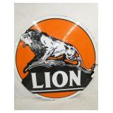 6FT. PORC. LION SIGN W/ ORANGE BACKGROUND