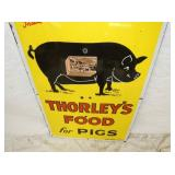VIEW 2 THORLEYS PIG FOOD SIGN W/ PIG