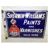 RARE 15X22 PORC. SHERWIN WILLIAMS FLANGE SIGN