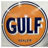 5 1/2FT. 1949 PORC. GULF DEALER SIGN