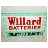 34X58 EMB. PLASTIC WILLARD BATTERIES SIGN