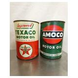 NOS TEXACO AND AMOCO 1QT CANS