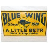 12X20 EMB. BLUE WING 1919 CLOTHES SIGN
