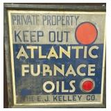 36X36 ATLANTIC FURNACE OILS W/ REFLECTOR SIGN