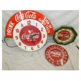 COCA COLA CLOCKS AND THERMS.