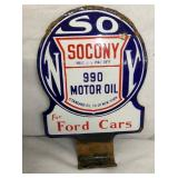9X12 PORC. SOCONY FORD CARS PUMP SIGN