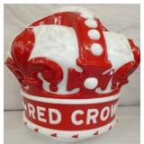 MILKGLASS RED CROWN PUMP GLOBE