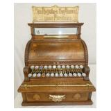 16X19 NATIONAL #910 48910WOODEN CASH REGISTER W/ MARQUEE