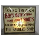30X36 LIGHTED BOY OUTFITTING BARBER SHOP & OTHER SIGN