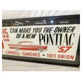 VIEW 2 RIGHTSIDE 1957 PONTIAC SIGN W/ CAR