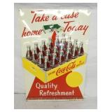 RARE 20X28 1947 COKE SIGN W/24PK CARTON