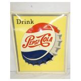 26X30 OLD STOCK PEPSI COLA DRINK SIGN W/CAP