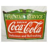 46X60 PORC. FOUNTAIN SERVICE COKE SIGN