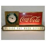 9X19 EARLY COKE COUNTER CLOCK SIGN