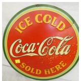 EMB. 1933 ICE COLD COCA COLA SIGN