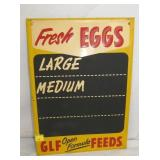 14X 20 EMB. FRESH EGGS/FEEDS MENU SIGN