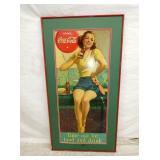 16X34 1938 COCA COLA CARDBOARD W/ LADY
