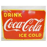 20X28 PORC. DRINK COKE ICE COLD SIGN